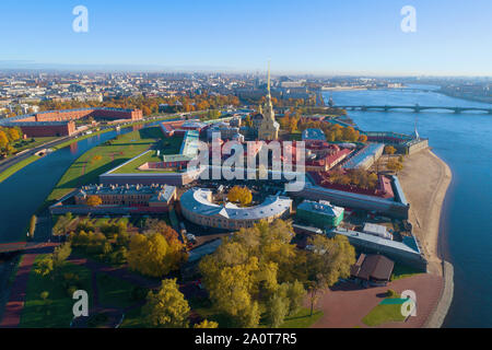 View of the Peter and Paul Fortress on a sunny October day (shooting from a quadcopter). Saint-Petersburg, Russia - Stock Photo