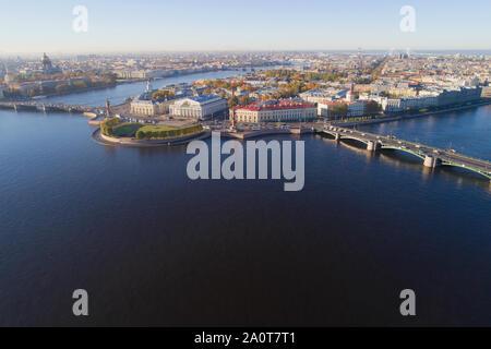 View of Vasilyevsky Island on a sunny October day. Saint-Petersburg, Russia - Stock Photo
