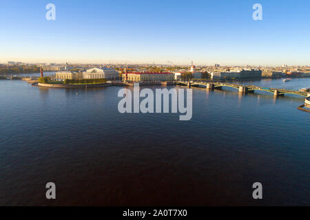 View of the Spit of Vasilyevsky Island on an October morning. Saint-Petersburg, Russia - Stock Photo