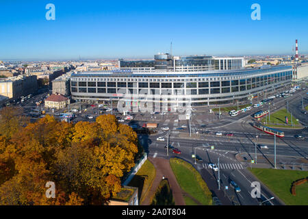SAINT-PETERSBURG, RUSSIA - OCTOBER 11, 2018: View of the hotel 'Moscow' on a sunny October afternoon - Stock Photo