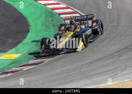 Salinas, California, USA. 20th Sep, 2019. CONOR DALY (7) of the United States practices for the Firestone Grand Prix of Monterey at Weathertech Raceway Laguna Seca in Salinas, California. (Credit Image: © Walter G Arce Sr Grindstone Medi/ASP) - Stock Photo