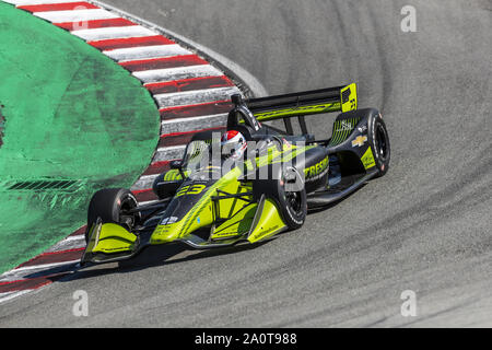 Salinas, California, USA. 20th Sep, 2019. CHARLIE KIMBALL (23) of the United States practices for the Firestone Grand Prix of Monterey at Weathertech Raceway Laguna Seca in Salinas, California. (Credit Image: © Walter G Arce Sr Grindstone Medi/ASP) - Stock Photo