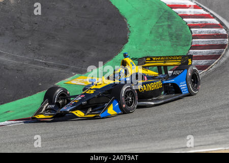 Salinas, California, USA. 20th Sep, 2019. ZACH VEACH (26) of the United States practices for the Firestone Grand Prix of Monterey at Weathertech Raceway Laguna Seca in Salinas, California. (Credit Image: © Walter G Arce Sr Grindstone Medi/ASP) - Stock Photo