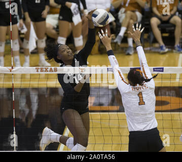 Austin, Texas, USA. 20th Sep, 2019. Texas A&M Aggies opposite side hitter TREYAUNNA RUSH (14) during an NCAA volleyball game between Texas and Texas A&M at Gregory Gymnasium in Austin, Texas, on September 20, 2019. Credit: Scott Coleman/ZUMA Wire/Alamy Live News - Stock Photo