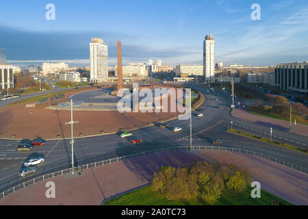SAINT-PETERSBURG, RUSSIA - NOVEMBER 05, 2018: View of Victory Square on a sunny November morning - Stock Photo