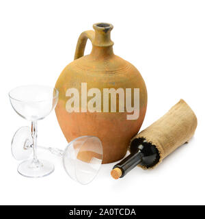 wineglasses, a wine bottle and amphora isolated on white background - Stock Photo
