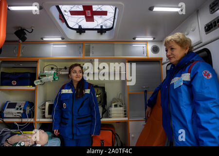A team of Ambulance inside a pediatric intensive care unit in Moscow, Russia - Stock Photo