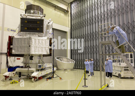 NOORDWIJK - The BepiColombo inside the cleanroom of the ESTEC. The satellite is due to launch in 2018 on a mission to the planet Mercury. - Stock Photo
