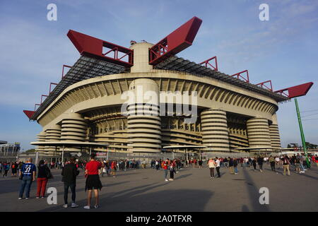 MILAN, ITALY - SEPTEMBER 21: General view of the Stadio San Siro ahead of the Seria A match between AC Milan vs FC Internazionale at Stadio San Siro, Stadio Giuseppe Meazza on September 21, 2019 in Milan, Italy. - Stock Photo