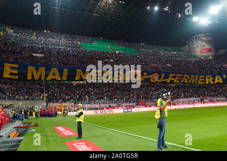 MILAN, ITALY - SEPTEMBER 21: The FC Internazionale fans side during the Seria A match between AC Milan vs FC Internazionale at Stadio San Siro, Stadio Giuseppe Meazza on September 21, 2019 in Milan, Italy. Credit: Daniela Porcelli/SPP/Alamy Live News - Stock Photo
