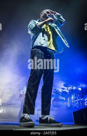 Lead singer of British Indie pop band, Bastille, Dan Smith performs a sold out show in Toronto. - Stock Photo
