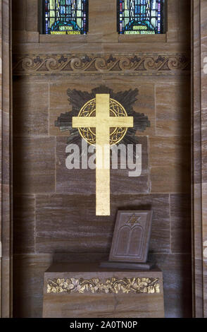 Interior of the Chapel in the American Section of the Military Cemeteries at Brookwood Cemetery, Pirbright, Woking, Surrey, southeast England, UK - Stock Photo