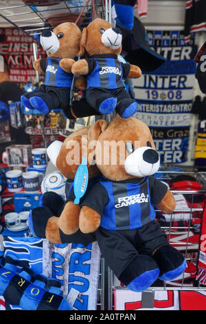 MILAN, ITALY - SEPTEMBER 21: FC Internazionale merchandise outside of the stadium during the Seria A match between AC Milan vs FC Internazionale at Stadio San Siro, Stadio Giuseppe Meazza on September 21, 2019 in Milan, Italy. Credit: Daniela Porcelli/SPP/Alamy Live News - Stock Photo