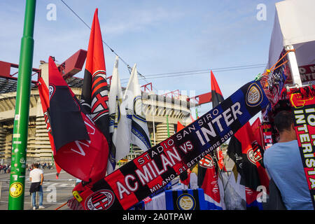 MILAN, ITALY - SEPTEMBER 21: View outside the stadium of San Siro with the scarf of the derby during the Seria A match between AC Milan vs FC Internazionale at Stadio San Siro, Stadio Giuseppe Meazza on September 21, 2019 in Milan, Italy. Credit: Daniela Porcelli/SPP/Alamy Live News - Stock Photo