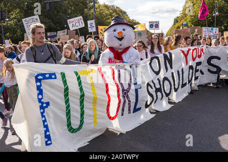 Berlin, Germany 9/20/2019 Young People Take to Streets in a Global Strike Protesting Climate Change. Fridays For Future Demonstration In Berlin.