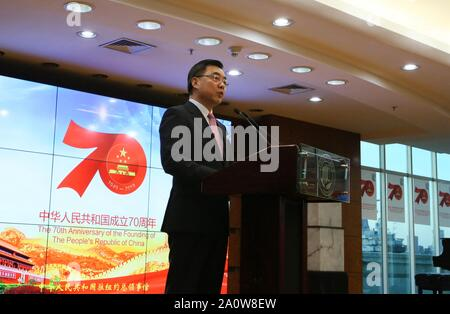 New York, USA. 19th Sep, 2019. Huang Ping, Chinese consul general in New York, speaks during a reception to celebrate the upcoming 70th anniversary of the founding of the People's Republic of China (PRC) in New York, the United States, Sept. 19, 2019. Credit: Zhang Fengguo/Xinhua/Alamy Live News - Stock Photo