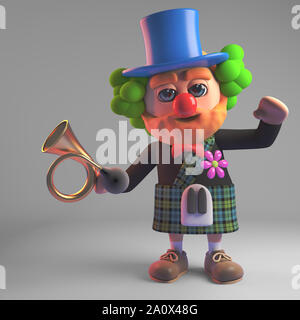 Funny cartoon 3d Scottish man in kilt wearing a clown red nose and holding an old car horn, 3d illustration render - Stock Photo