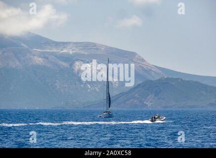 island named Lipari, the largest of the Aeolian Islands in the Tyrrhenian Sea near Sicily in Italy - Stock Photo