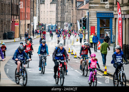Edinburgh, Scotland. Sunday 22nd September 2019. Participants at the HSBC UK Let's Ride event in Edinburgh, Scotland. Riders enjoyed a 4.5km closed road circuit of the historic city with a street festival set up in The Meadows public park with music, food and drink, demos and activities. - Stock Photo