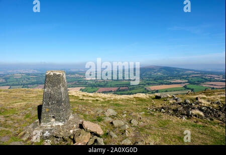 Looking towards Brown Clee Hill from the summit trig point on Titterstone Clee Hill, near Ludlow, Shropshire - Stock Photo