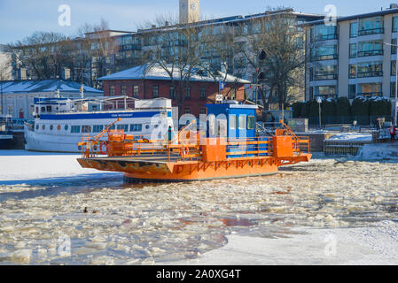 TURKU, FINLAND - FEBRUARY 23, 2018: The old city ferry 'Fiori' on the winter river Aura - Stock Photo