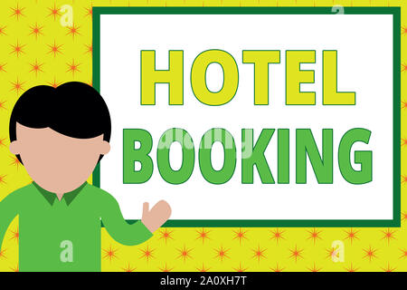 Handwriting text writing Hotel Booking. Conceptual photo Online Reservations Presidential Suite De Luxe Hospitality Young man standing in front whiteb - Stock Photo
