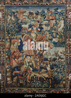Duck hunting depicted in the Tournai tapestry of the Parable of the Prodigal Son dated from the early 16th century on display in the Hôtel-Dieu Museum in Beaune in Burgundy, France. - Stock Photo