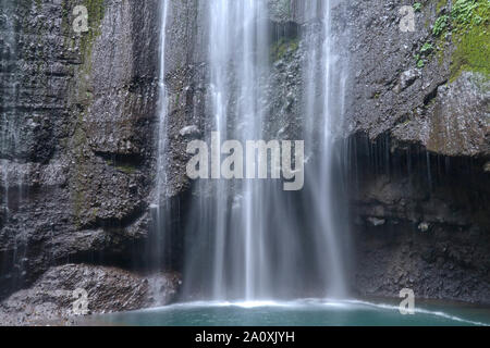 Famous place in Madakaripura waterfall. Water falls in front of a rock wall of black stone into a pond with turquoise water. National nature park. - Stock Photo