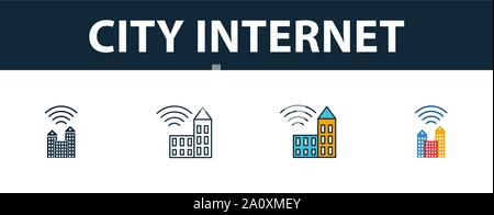 City Internet icon set. Four simple symbols in diferent styles from icons collection. Creative city internet icons filled, outline, colored and flat - Stock Photo