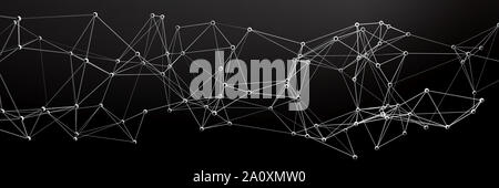 Global communication network, business, technology concept, black abstract background, banner. 3d illustration