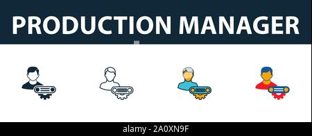 Production Manager icon set. Four simple symbols in diferent styles from risk management icons collection. Creative production manager icons filled - Stock Photo