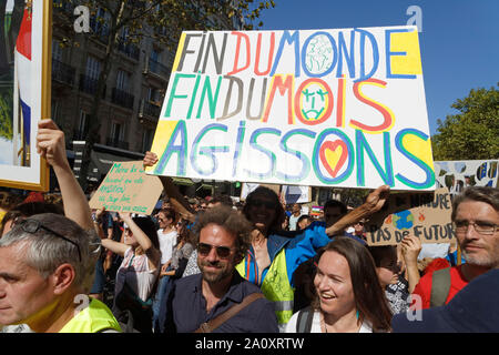 Paris, France. 21st Sep, 2019. Cyril Dion and Jean-Baptiste Reddé attend at the demonstration for climate, biodiversity and social justice. - Stock Photo