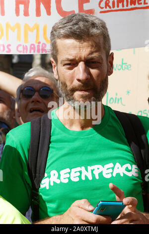 Paris, France. 21st Sep, 2019. Jean-François Julliard (Greenpeace France) attends at the demonstration for climate. - Stock Photo