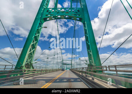Saint Lawrence River bridge crossing from 1000 islands in Ontario, Canada to USA, New York - Stock Photo