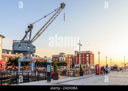 Sunset at Gunwharf Quays, Portsmouth, England, UK - Stock Photo