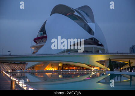 Valencia, Spain-10 April, 2019: Reina Sophia Museum located in City of Arts & Science - entertainment-based cultural and architectural complex in the - Stock Photo