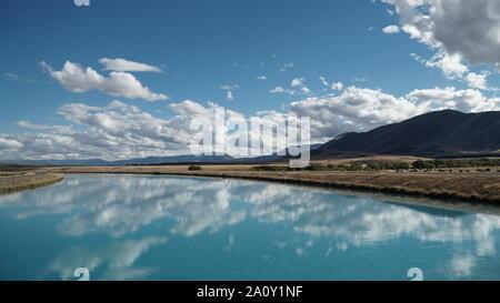 Extreme blue lake pukaki south island new zealand