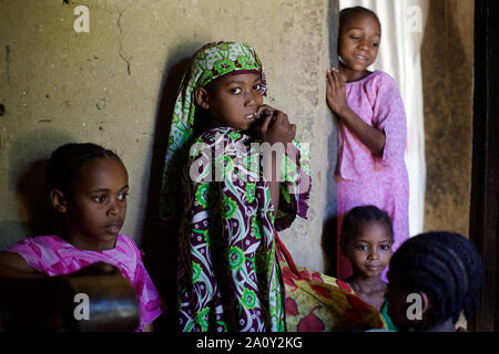 Veiled little girls, Pemba island, Zanzibar Archipelago, Tanzania - Stock Photo