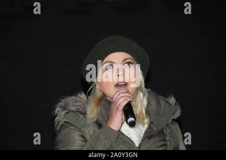 Singer and environmental activist, Charlotte Church, sings at The People's Climate Change March in London. - Stock Photo