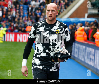 London, UK. 22nd Sep, 2019. Wolverhampton Wanderers' John Ruddy during English Premier League between Crystal Palace and Wolverhampton Wanderers at Selhurst Park Stadium, London, England on 22 September 2019 Credit: Action Foto Sport/Alamy Live News - Stock Photo