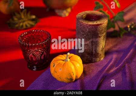 Buffet table with sweets and drinks, cooked and decorated in honor of Halloween - Stock Photo