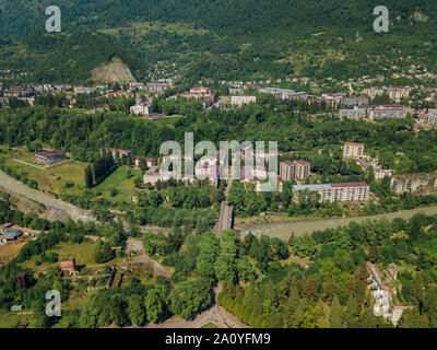 Mining town Tquarchal or Tkvarcheli, aerial view from drone. - Stock Photo