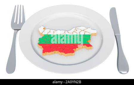 Bulgarian cuisine concept. Plate with map of Bulgaria. 3D rendering - Stock Photo