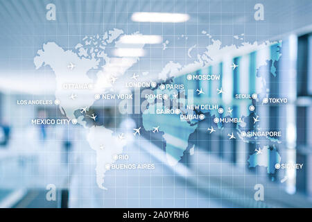 Aviation wallpaper with planes over the map with major city names. Digital map with planes around the world concept. - Stock Photo