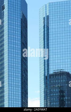 Frankfurt, Germany - July 06, 2019: The Deutsche Bank skyscraper in the financial district and downtown on July 06, 2019 in Frankfurt. - Stock Photo