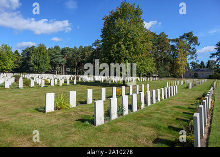 Rows of gravestones in the Canadian Section of the Military Cemetery at Brookwood Cemetery, Pirbright, Woking, Surrey, southeast England, UK - Stock Photo