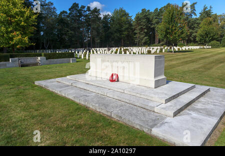 Inscribed memorial and gravestones in the Canadian Section of the Military Cemetery at Brookwood Cemetery, Pirbright, Woking, Surrey, SE England, UK - Stock Photo