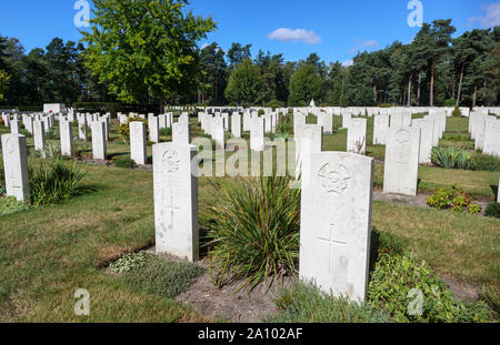 Gravestones in the Canadian Section of the Military Cemetery at Brookwood Cemetery, Pirbright, Woking, Surrey, southeast England, UK - Stock Photo