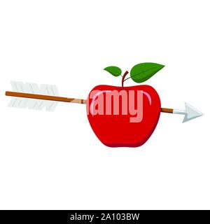 Vector flat design illustration of wooden arrow in red apple icon isolated on white background the bull s eye concept. - Stock Photo
