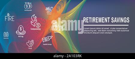 Retirement Savings Icon Set as well as Web Header Banner - Stock Photo